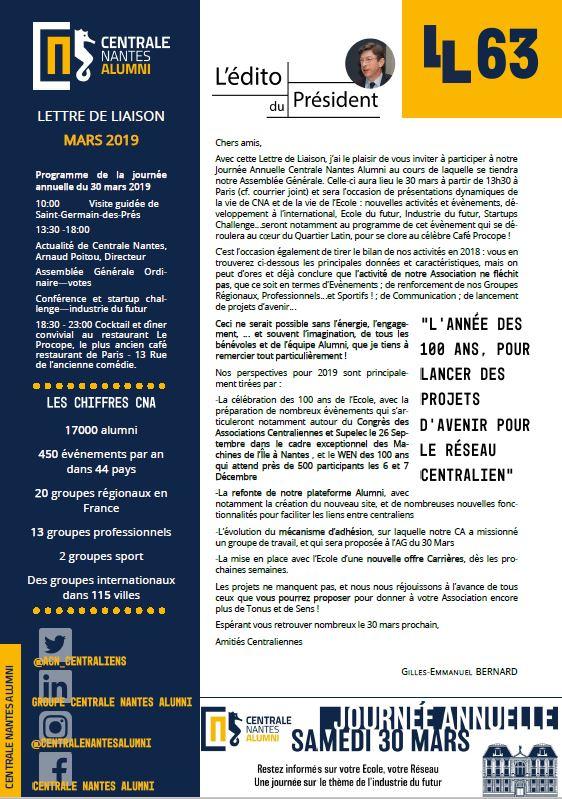 Lettre de Liaison 63 Mars 2019