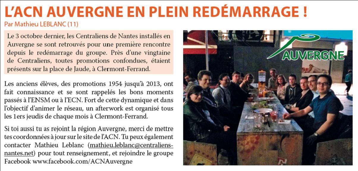 Redémarrage du Groupe Auvergne