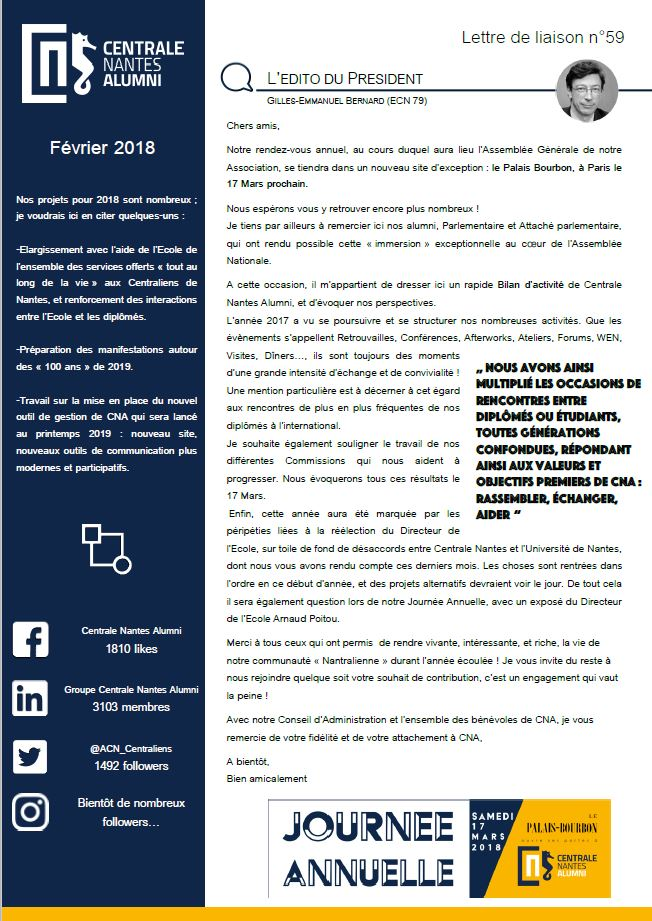 Lettre de Liaison 59 Février2018